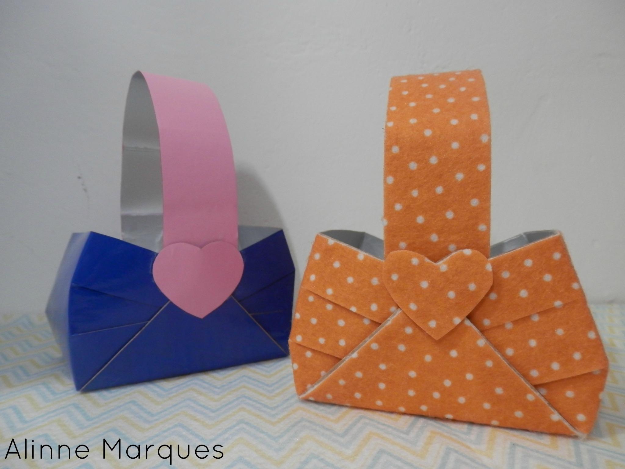 Cesta Com Caixa De Leite Artesanato Com Reciclagem Pap